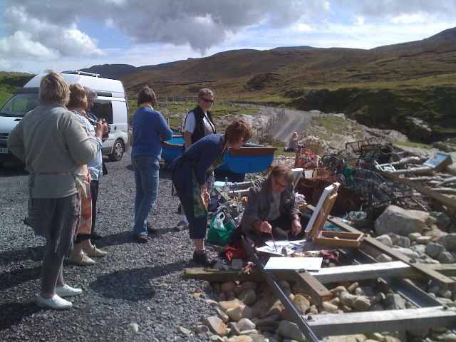 Artist Conal McIntyre with the marine painting class in the field at Port, Co. Donegal.